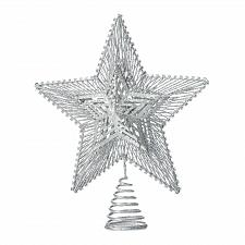 Buy *18483U - Silver Star Glitter Finish Metal Tree Topper