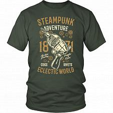 Buy Steampunk Adventure Adult Unisex T-Shirt Pop Culture Graphic Tee (Olive/District Unis