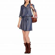 Buy FADED GLORY Women's Shirt Dress Blue Med Wash Collar Neck 3/4 Sleeves SIZE XL