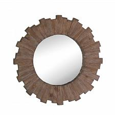 Buy *17101U - Swell Sunburst Brown Fir Wood Round Wall Mirror