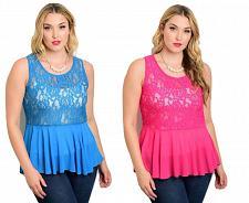 Buy ZENOBIA Women's Sheer Lace Peplum Top Sleeveless Asymmetrical Hem