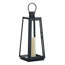 """Buy *18348U - Large 20"""" Black Iron Exploration Pillar Candle Lantern"""