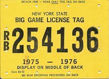 Buy Vintage Hunting License Big Game Tag New York State 1975-1976