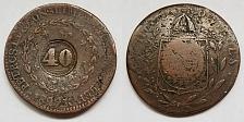Buy 1829-R Brazilian 40 Reis Counterstruck on 80 Reis World Coin - Brazil