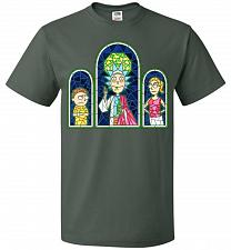 Buy Rick And Morty Stain Glass Unisex T-Shirt Pop Culture Graphic Tee (2XL/Forest Green)