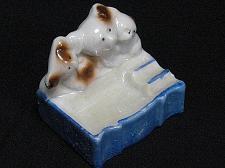 Buy Vintage Porcelain Bears Cubs Figural Ashtray Snuffer Japan Lustreware