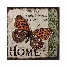 Buy *17434U - Story Begins Home Butterfly Postcard Backdrop 3-D Iron Wall Art