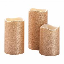 "Buy :11008U - Rose Gold Glitter Flameless 4"" 5"" 6"" LED Pillar Candle Set Of 3"
