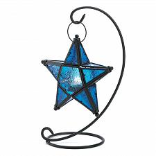 Buy D1138U - Blue Pressed Glass Hanging Star Metal Candle Lantern Stand