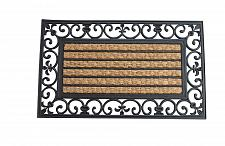 Buy *17935U - Striped Mat With Fleur-De-Lis Border Coir Door Mat