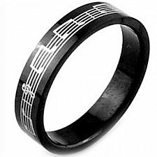 Buy coi Jewelry Black Tungsten Carbide Music Note Ring