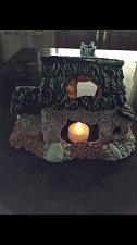 """Buy your little piece of paradise tiki hut with LED tealight glow 9"""" x 6"""""""