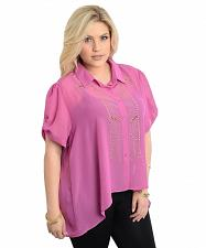 Buy Womens Button Shirt PLUS SIZE 1X 2X 3X Sheer Solid Lilac Embellished Studs