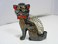 """Buy Black Cat Coil Letter Mail Holder 4"""" tall Vintage Red ware Pottery Japan Retro"""