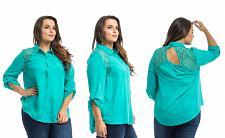 Buy ROMAN Women's Button Shirt PLUS SIZE Sea Green Collar Neck Lace Yoke Keyhole