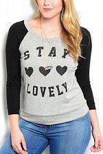 Buy Womens Knit Top Baseball SIZE 1X LIBIAN Grey Stay Lovely Long Sleeves Crew Neck
