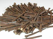 """Buy Antique Square Nails Flat Head Lot of 2 LBS Genuine 2 3/4"""" Spikes 160 Count"""