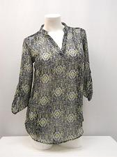 Buy Womens Top SIZE S Geometric 3/4 Sleeve Lace Yoke Mandarin Collar Sheer