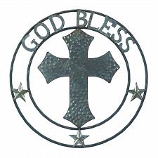 "Buy *18363U - Galvanized 24"" Round Cross God Bless Art Sclupture Wall Decor"