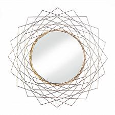 "Buy *18488U - Golden Geometric 24"" Frame Round Hanging Wall Mirror"