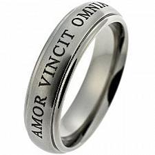 Buy coi Jewelry Platinum White Titanium Amor Vincit Omnia Wedding Band Ring