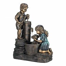 Buy *17064U - Doggy Wash Water Fountain Antique Look Yard Art Garden Décor