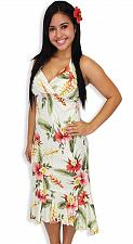 Buy Ladies Beige Orchid Pua Halter Mid Length Rayon Dress #904R-S SIZE: MED