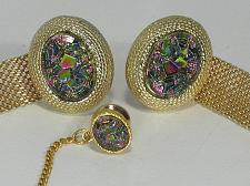 Buy Vintage Gold Tone Mesh Wrap Cufflinks & Tie Aurora Borealis Rhinestone Crystal