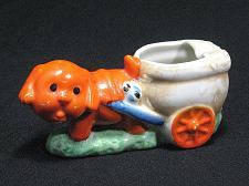 Buy Porcelain Orange Dog pulling Cart Figural Ashtray Snuffer Vintage Japan