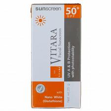 Buy Vitara Facial Sunscreen With Nano White Glutathione SPF 50 25 grams