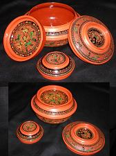 "Buy ANTIQUE BURMESE ROUND LAYERED ""MONK""-FOOD BOX or LUNCH BOX SET VINTAGE: 1890s"