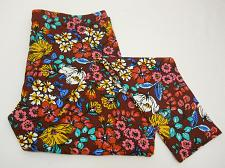 Buy Women Ankle Leggings SIZE XL Burgundy Floral Print Skinny Legs Inseam 28
