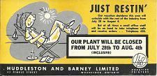 Buy Vintage Ink Blotter Huddleston Barney Vacation Shutdown Woodstock ON Canada
