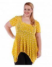 Buy Women Knit Top PLUS SIZE 5X Yellow Polka Dot Square Neck Handkerchief Hem