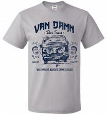 Buy Van Damn Tour Bus Adult Unisex T-Shirt Pop Culture Graphic Tee (3XL/Silver) Humor Fun