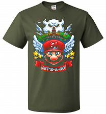 Buy Retro Mario 64 Tribute Adult Unisex T-Shirt Pop Culture Graphic Tee (4XL/Military Gre