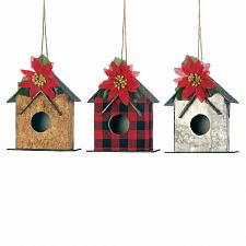 "Buy *18111U - Little 4.5"" Birdhouse w/Poinsetta Christmas Tree Ornament 3pc Set"