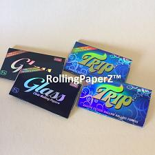 Buy 4 Packs Clear Rolling Papers 1 1/4 Size (2) TRIP and (2) GLASS 50 leaves per pk
