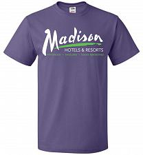 Buy Billy Madison Hotels & Resorts Adult Unisex T-Shirt Pop Culture Graphic Tee (M/Purple