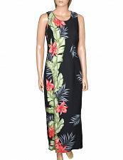Buy Ladies Orchid Panel Maxi Long Cocktail Black Hawaiian Dress #HH-119845-OP sz: XL