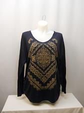 Buy Womens Knit Top PLUS SIZE 2X Navy Glitter Paisley Print V-Neck Long Sleeves JMS