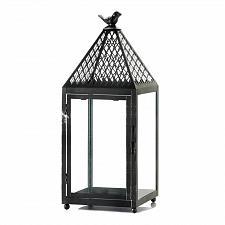 "Buy *17322U - Black Bird Final Weathered Iron Pillar Candle Lantern 18 1/2"""