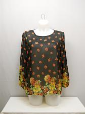 Buy Womens Tunic Top SIZE 3XL MOA Sheer Black Floral Chiffon Long Sleeves Scoop Neck