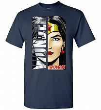 Buy Wonder Woman Unisex T-Shirt Pop Culture Graphic Tee (4XL/Navy) Humor Funny Nerdy Geek