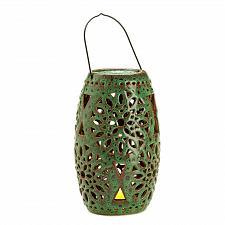 Buy *15449U - Green Ceramic LED Flameless Candle Holder Lantern