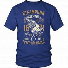 Buy Steampunk Adventure Adult Unisex T-Shirt Pop Culture Graphic Tee (Royal Blue/District