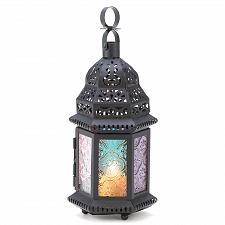 Buy 14119U - Rainbow Multi-Color Pressed Glass Panels Iron Cutwork Candle Lantern