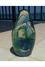 """Buy captivating blue green swirling turquoise glass sculpture approximately 7"""""""