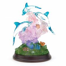 Buy 38031U - LED Light Up Dolphin Coral Reef Sculpture Figurine Wood Base