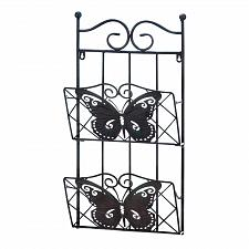 Buy *18400U - Butterfly Design 2-Tier Black Iron Magazine Wall Rack